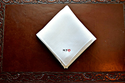 White Irish linen handkerchief embroidered MT (heart) in tiny block letters
