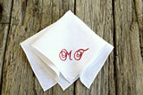Personalized White Linen Handkerchief with Two Initials : Elegant Scrolls