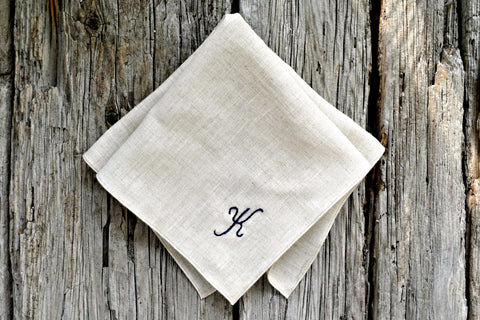 Oatmeal Linen Handkerchief Monogrammed with One Initial: Simple and Sweet