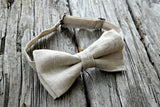 Oatmeal Irish Linen Adjustable Bow Tie