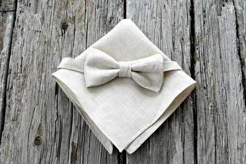 Oatmeal Irish Linen Bow Tie and Pocket Square Set