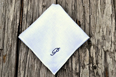 Linen Handkerchief Monogrammed with One Initial: Simple and Sweet