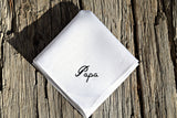 White linen pocket square embroidered Papa in script