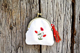 Hand Embroidered Poppy Change Purse with Tassel