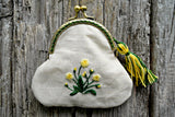 Hand Embroidered Primrose Change Purse with Tassel