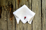 Tiny Rose Hand Embroidered Floral Handkerchief
