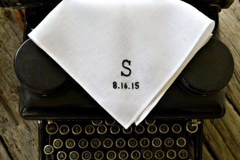 White Irish linen handkerchief with typewriter font initial and date