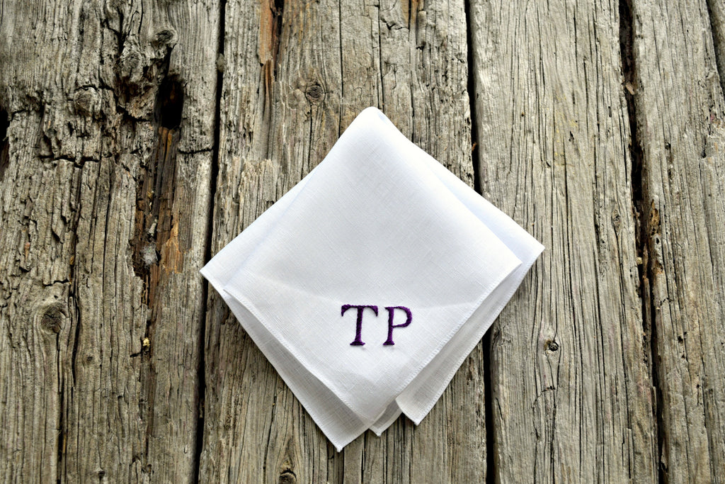 5b93887095f ... Monogrammed White Linen Pocket Square   Two Initials