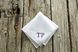 Monogrammed White Linen Pocket Square : Two Initials, Classic Script