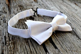 White Irish Linen Adjustable Bow Tie