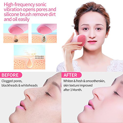 Facial Cleansing Brush, Sonic Face Brush Deep Cleaning for All Skins Anti-Aging Silicone Facial Cleanser Daily Cleansing&Exfoliation Rechargeable Waterproof Vibrating Facial Massager Scrubber