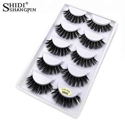 df6093b8693 SHIDISHANGPIN 5 Pairs Eyelashes 3d Lashes Natural Black 1cm-1.5cm Long &  Soft False
