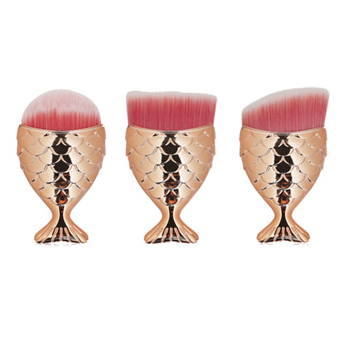 3 Pieces Mermaid Foundation Powder Blush Concealer Cream Makeup Brush(Gold)