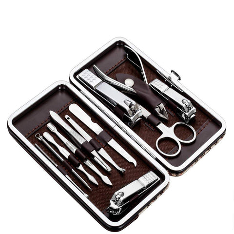 Manicure Pedicure Kit, Nail Clippers Set of 12Pcs, Professional Grooming Kit, Nail Tools with Case