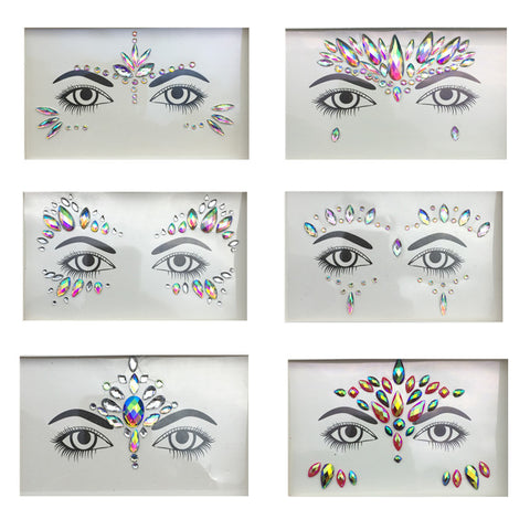 3D Face Gems Makeup rhinestone Jewels Tattoo Sticker Women Fashion Face Body Gems Gypsy Festival Adornment Party Makeup Beauty Stickers