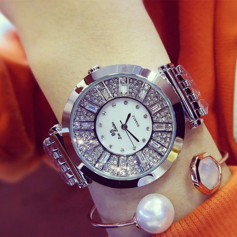 Luxury Crystal Gold Watches Women Ladies Quartz