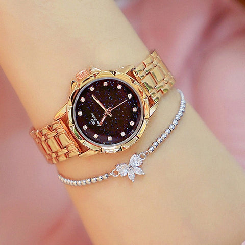 Gold Watch Ladies Quartz Rhinestone wrist watches