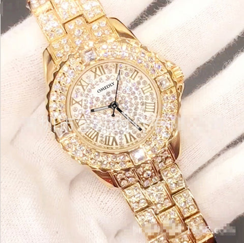 Rhinestone Luxury Quartz Watch Women Gold 2019