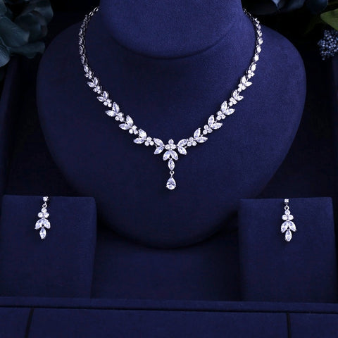 Luxury Sparking Brilliant Necklace Earrings Wedding Bridal Jewelry