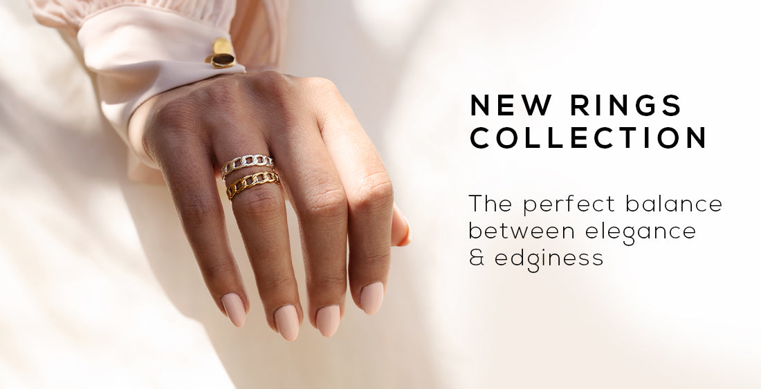 Collection banner for wellDunn jewelry's new rings collection. The perfect balance between elegance and edginess. Available in 18K gold vermeil and 925 sterling silver. Canadian handmade jewelry.