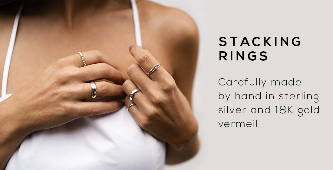 Discover our new collection in a wide variety of on-trend styles: necklaces, rings, earrings, and bracelets. Available in gold and silver. Made in Canada.