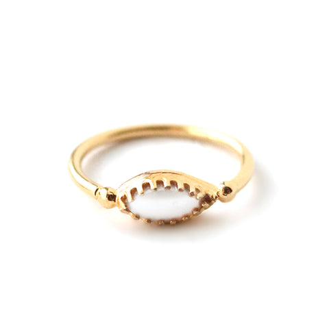 Peak | Sterling Silver Beaded V Ring