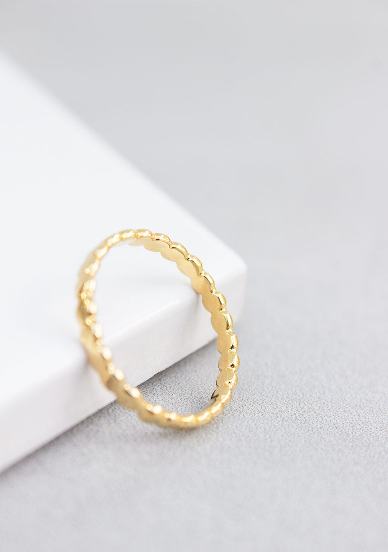 Suzy | Gold Flat Beaded Ring