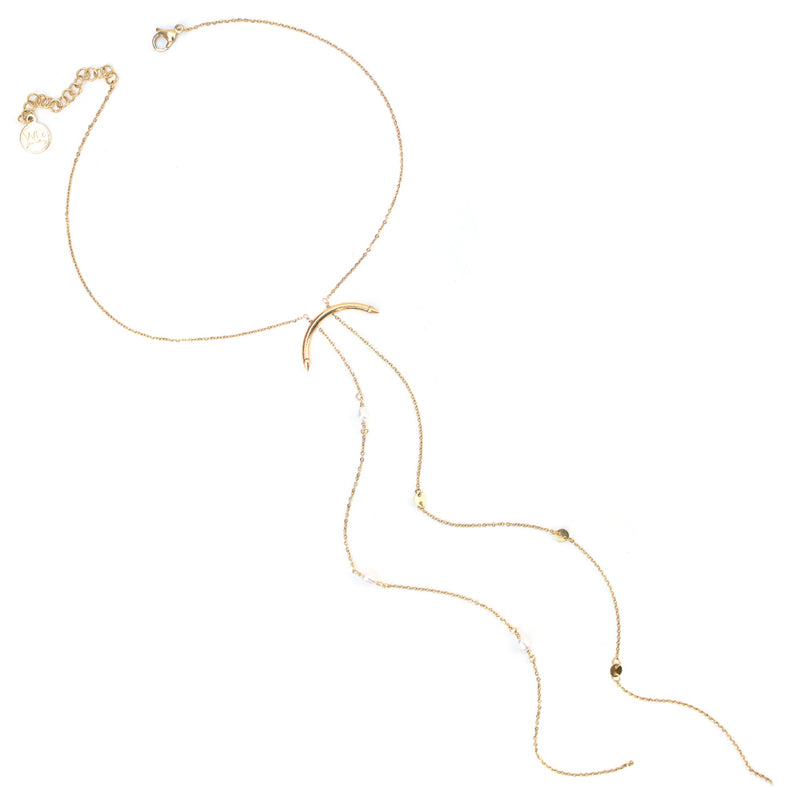 Aries  | Lariat Gold Pearl Necklace