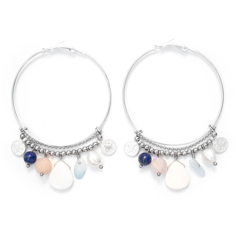 Coralie | Silver Hoop Charms Earrings