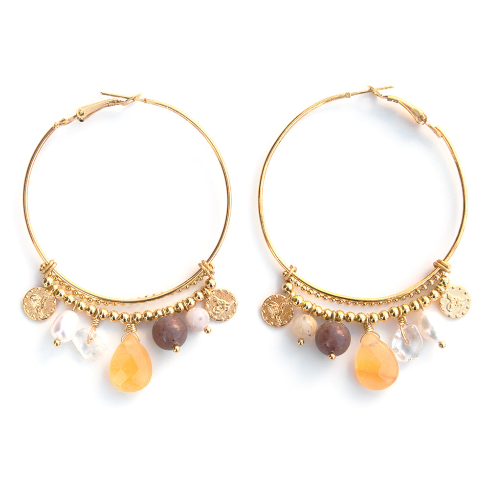 Coralie | Gold Hoop Charms Earrings