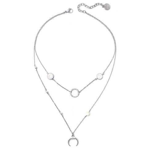 Lotus | Silver Pearl Layered Necklace