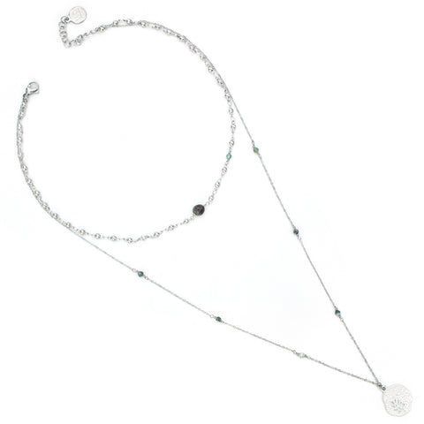 Saloon | Silver Beaded Chain Necklace