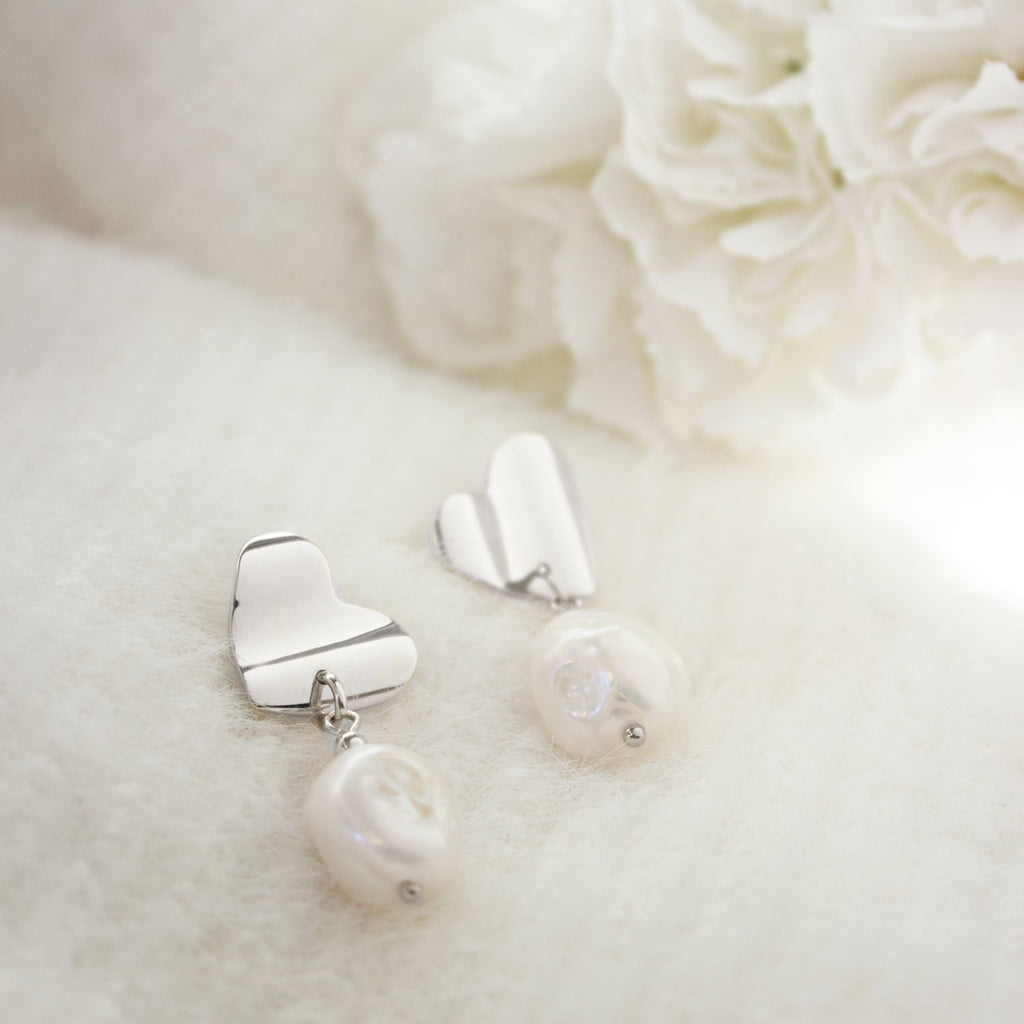 Victoria | Short Silver Pearl Earrings