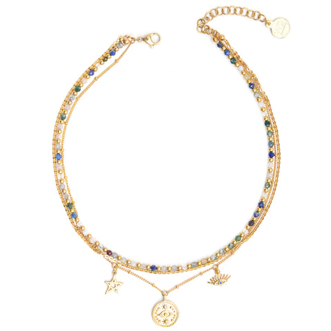 Aries  | Collier Lariat Perles Or