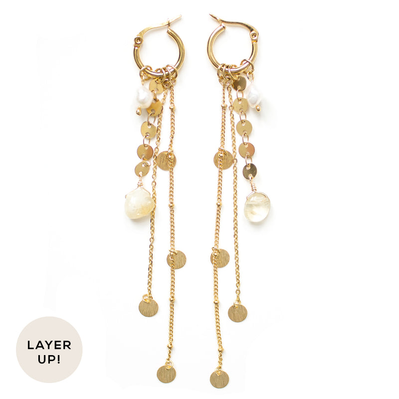 Honey | Long Multi-Strand Gold Earrings