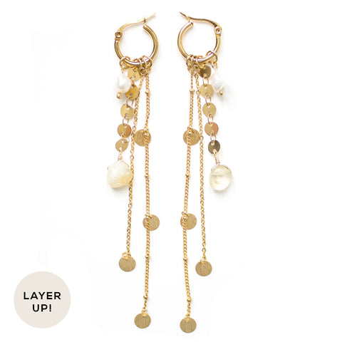 Catherine | Gold Pearl Crystal Hoop Earrings