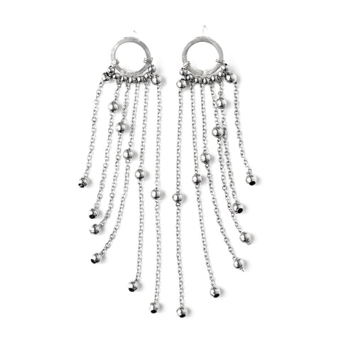 Opium | Silver Gemstones Hoop Earrings