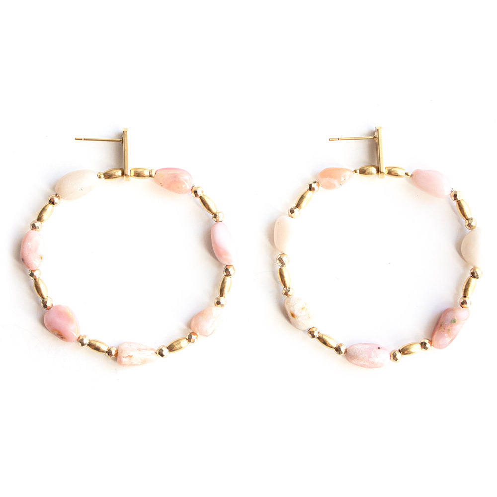 Opium | Gold Gemstones Hoop Earrings