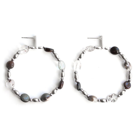 Praline | Silver Leaf Studded Earrings