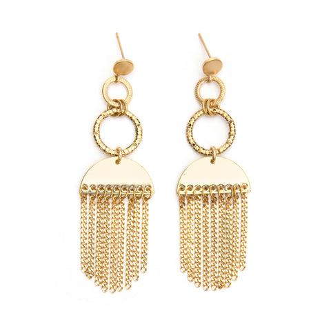 Milky | Gold Starburst Pendant Earrings