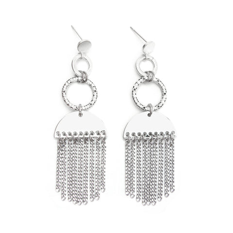 Milky | Silver Starburst Pendant Earrings
