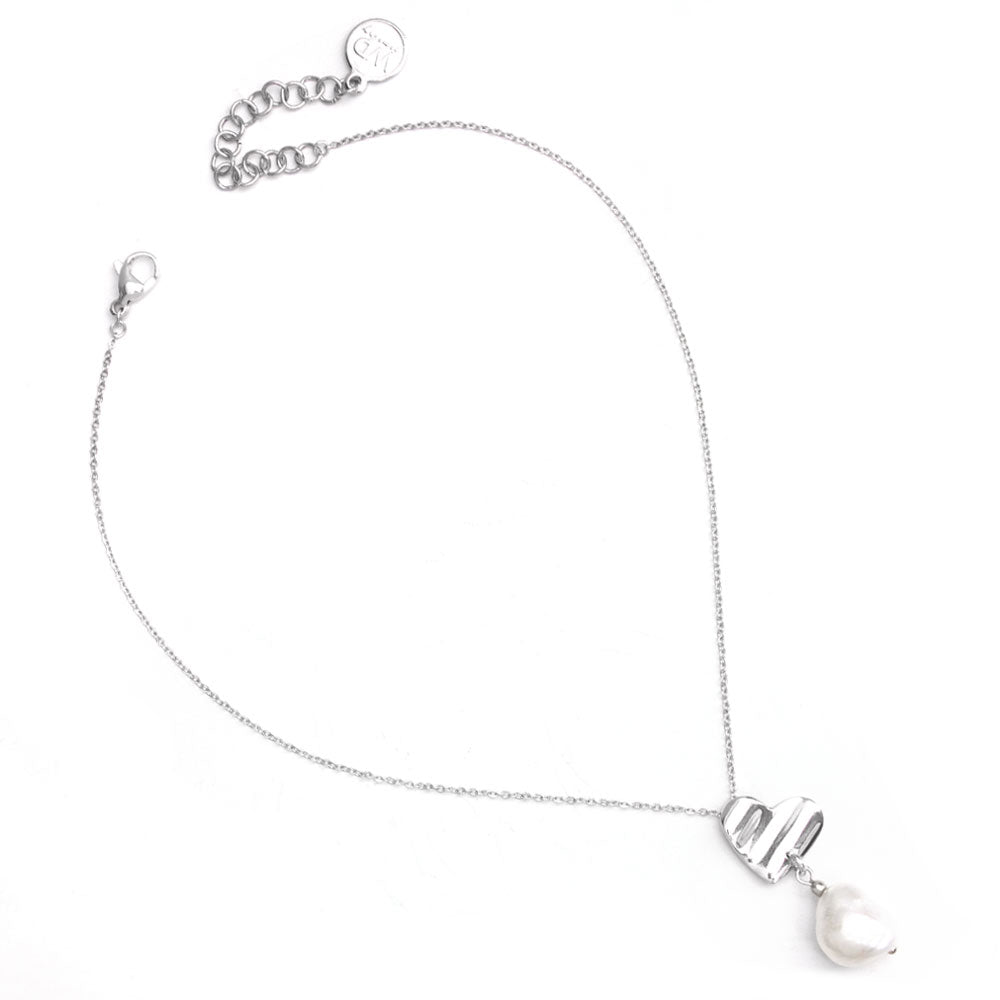 Romeo | Short Silver Pearl Necklace