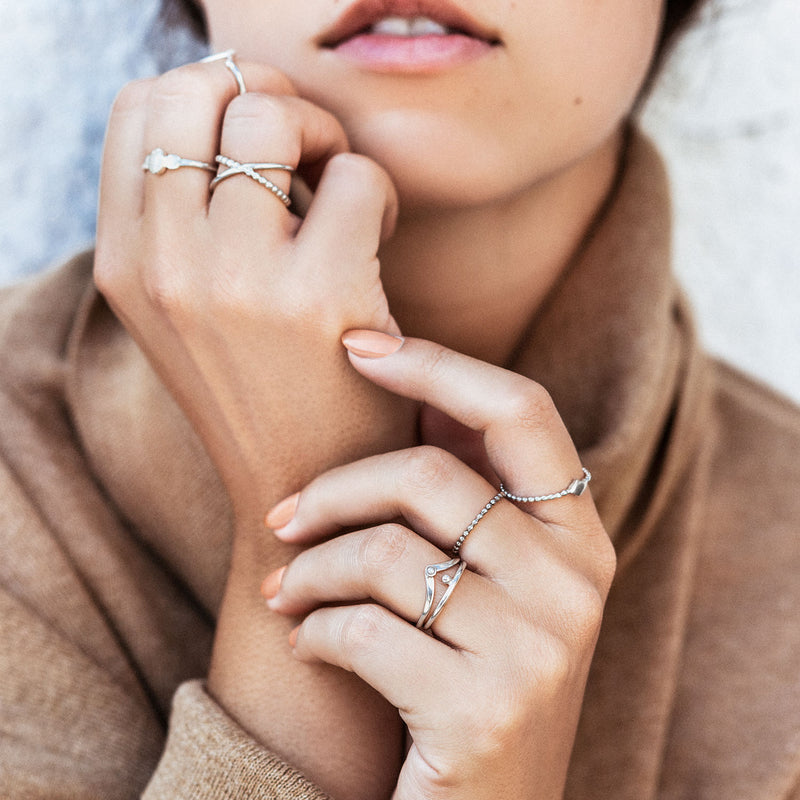 Kite | Diamond Shape Ring — Sterling Silver