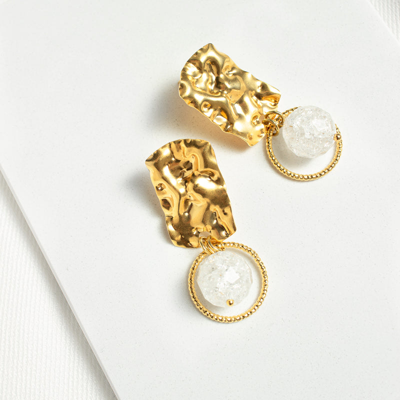 Sylvia | Gold Hammered Pendant Earrings