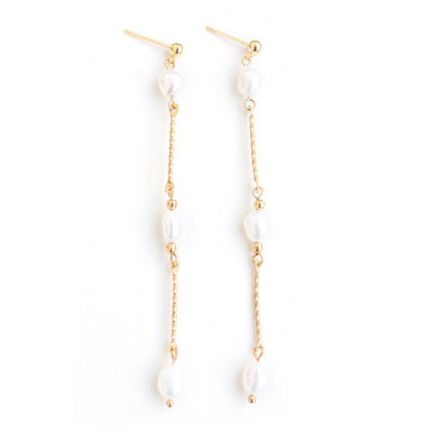 Meadow | Gold Stones Dangle Earrings