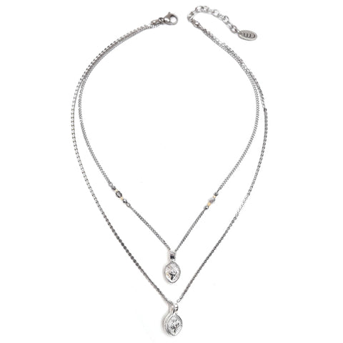 Luck | Silver Padlock Necklace Set