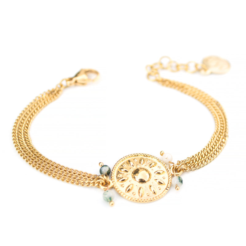 Verde | Gold Shield Medallion Bracelet