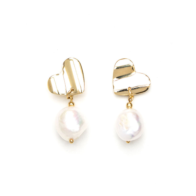 Victoria | Gold Heart Pearl Earrings