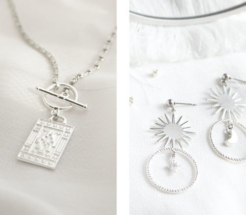 Necklace, earrings and pendants plated with sterling silver plating