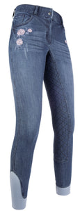 Riding breeches -Flower Denim- silicone full seat